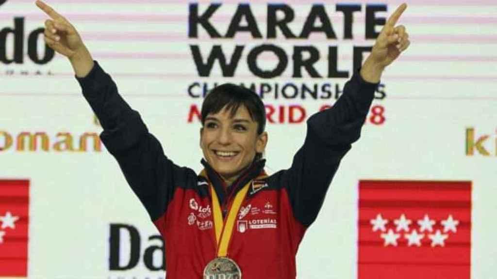 Sandra Sánchez en el campeonato del mundo. Foto: Twitter @sandrasankarate