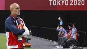 Luis de la Fuente, durante el partido de la fase de grupos de los Juegos Olímpicos ante Egipto