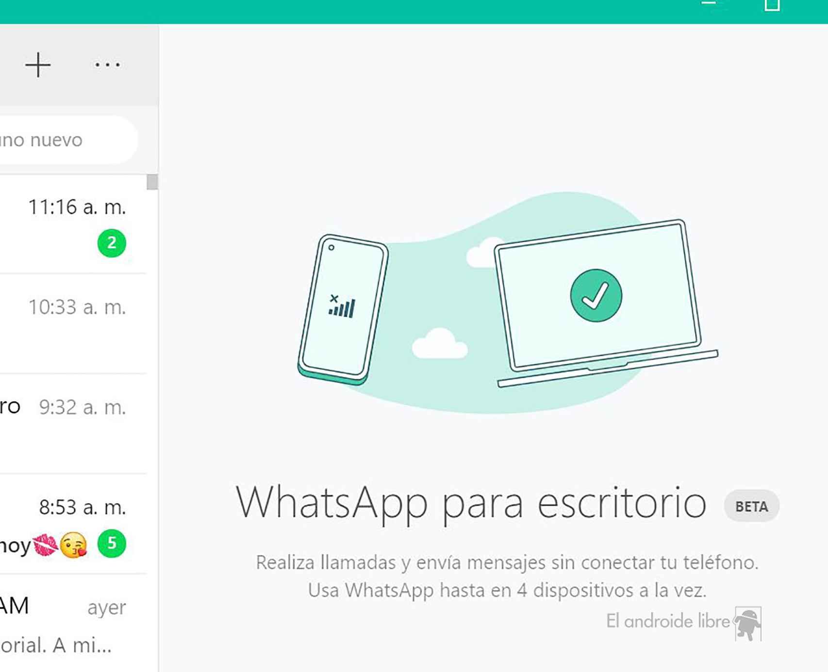 WhatsApp para escritorio beta
