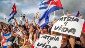 Protestas en Cuba contra el gobierno castrista.