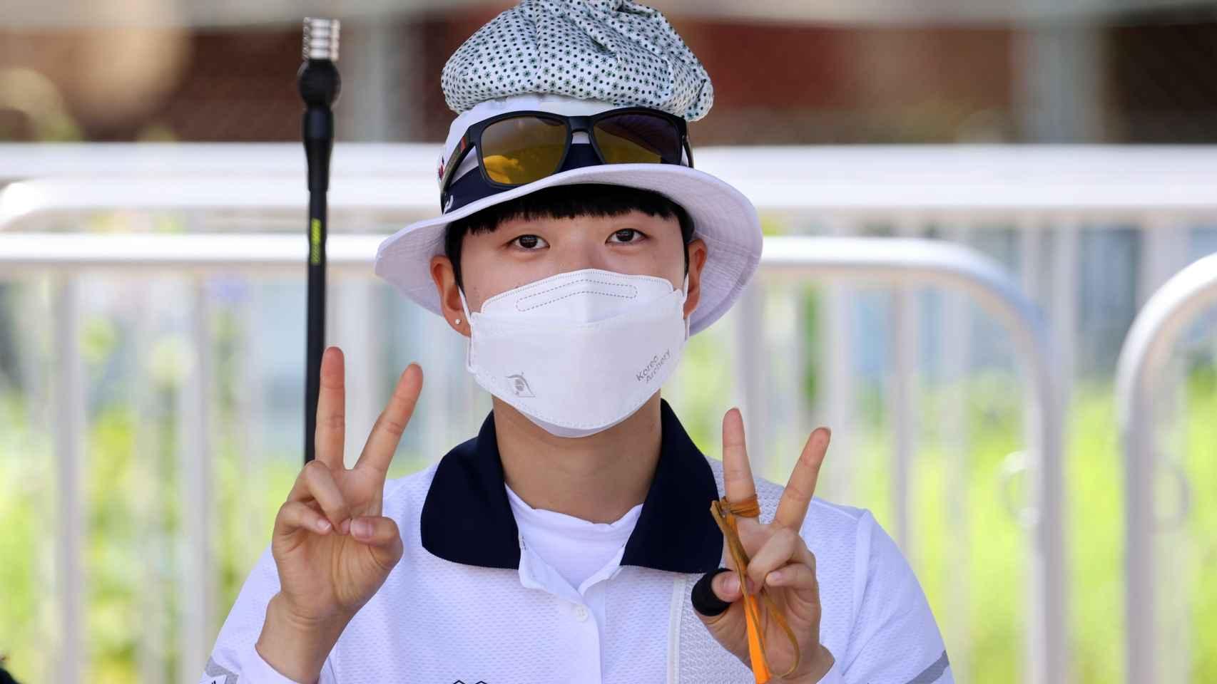 La arquera surcoreana San An celebra su récord olímpico en los JJOO de Tokio 2020