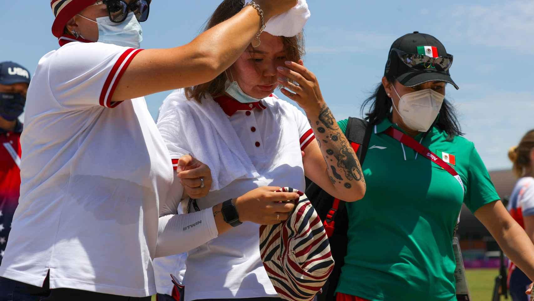 La arquera Svetlana Gomboeva tras sufrir un desvanecimiento en los JJOO de Tokio 2020