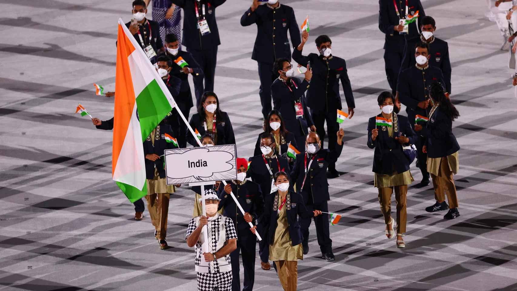 La delegación de la India en la ceremonia de apertura de los JJOO 2020
