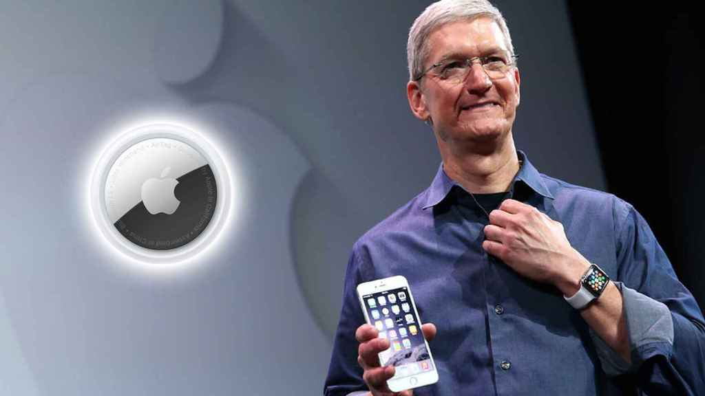 Tim Cook with an AirTag