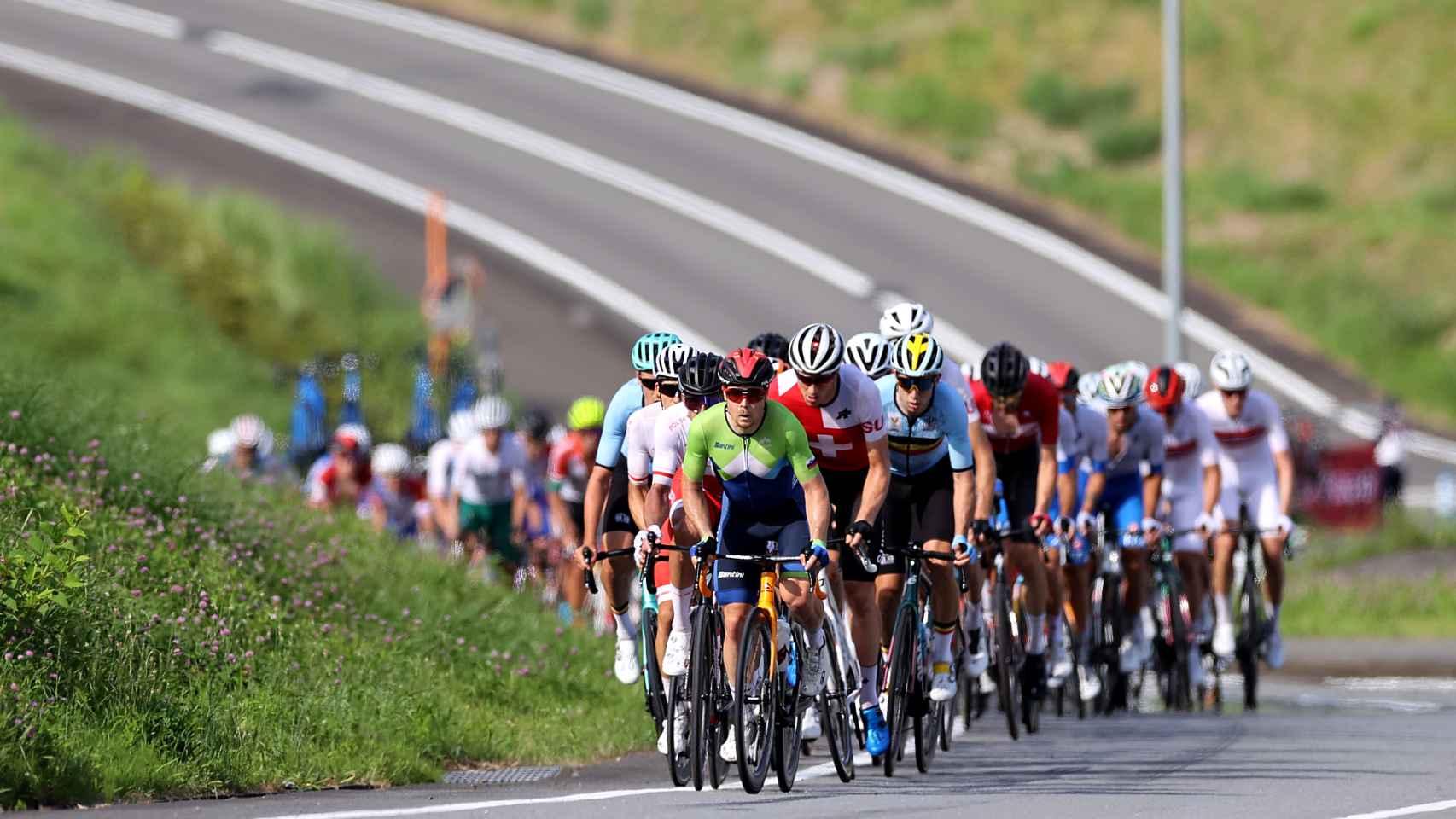 Un momento de la prueba de ruta de ciclismo de los Juegos Olímpicos