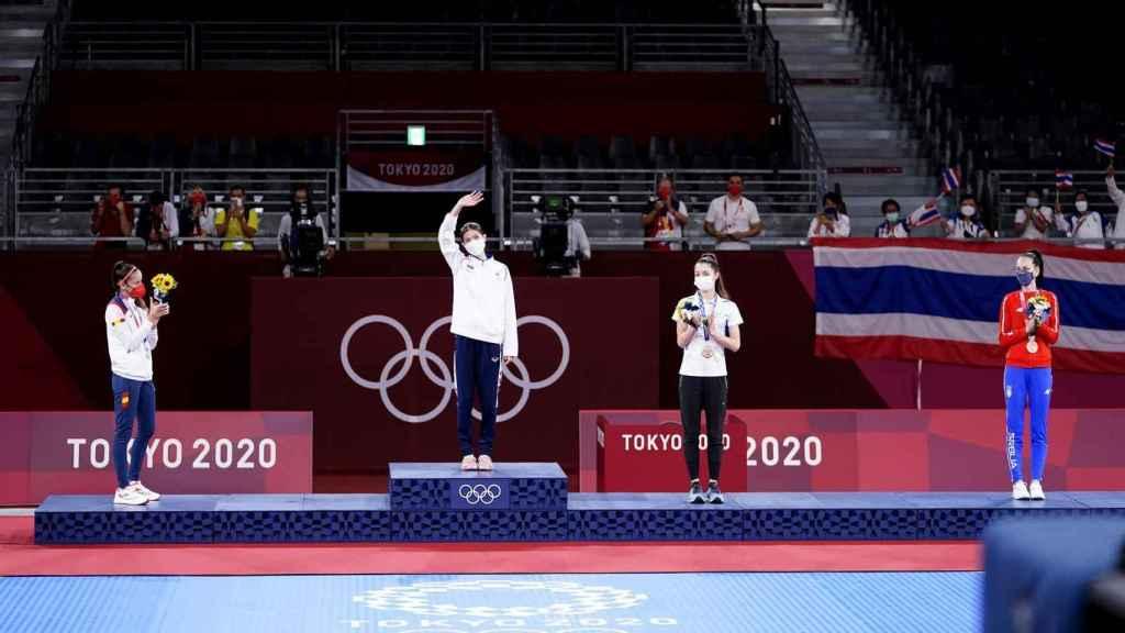 Podio de la final de Taekwondo en los Juegos Olímpicos de Tokio 2020