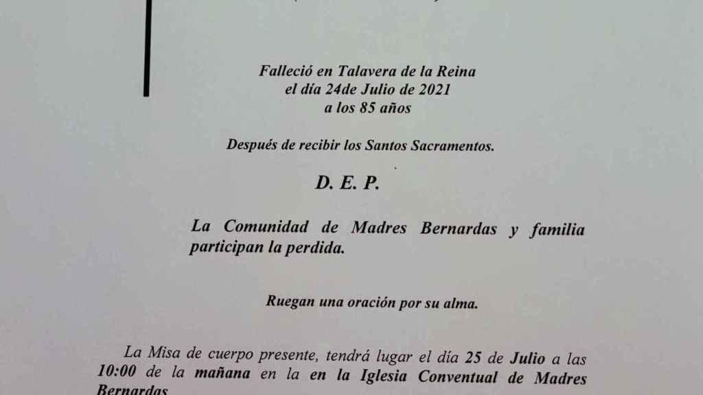 Fallecimiento de la Madre Rosa Barbacho