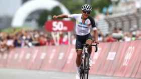 Richard Carapaz, celebrando el triunfo en los Juegos Olímpicos