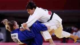 Julia Figueroa, durante su combate ante Gulkader Senturk en los JJOO de Tokio 2020