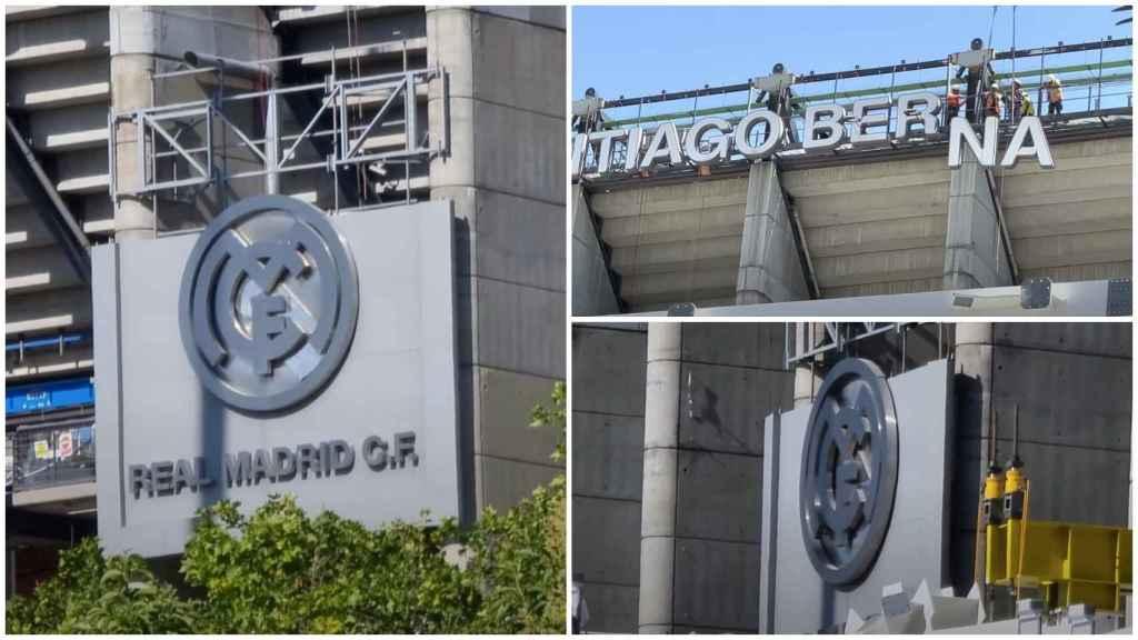 Retiran el escudo del Real Madrid de la fachada del Santiago Bernabéu