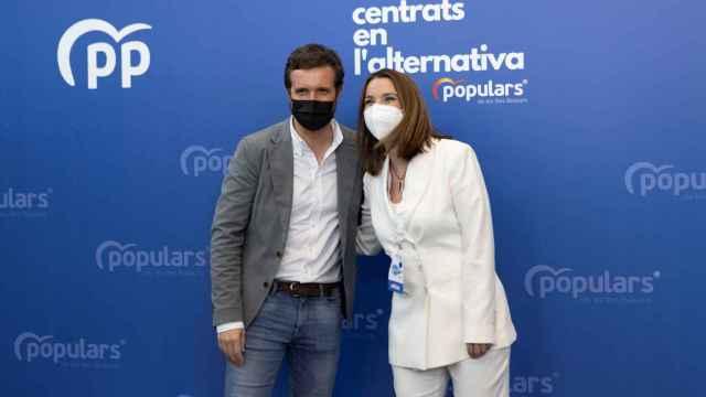 Pablo Casado con la nueva presidenta del PP de Baleares, Marga Prohens.