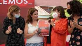 Hana Jalloul, Adriana Lastra, Cristina Narbona y Lina Gálvez en la presentación de la ponencia que se celebrará en Valencia en octubre.