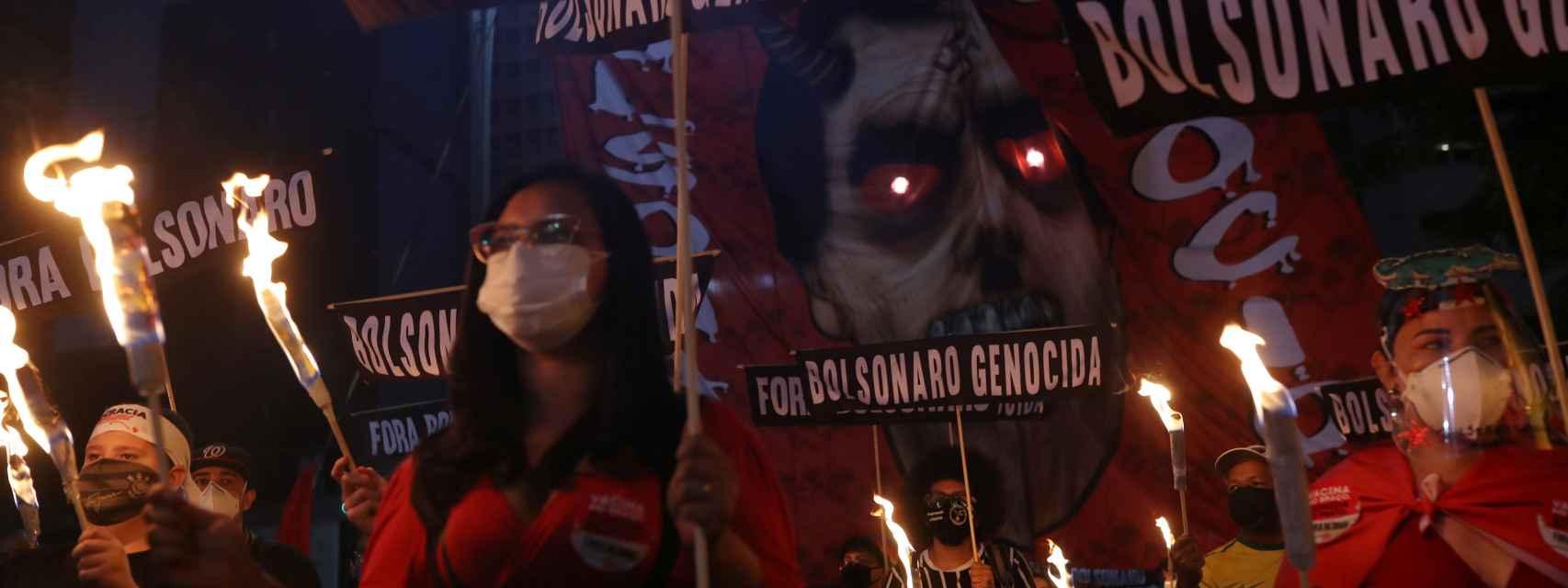 Manifestantes contra la gestión de Jair Bolsonaro de la pandemia, en Sao Paulo.