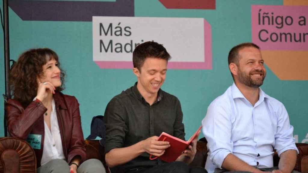 Eva Martínez, Íñigo Errejón y Fran Muñoz, en un acto previo a las elecciones municipales de 2019.