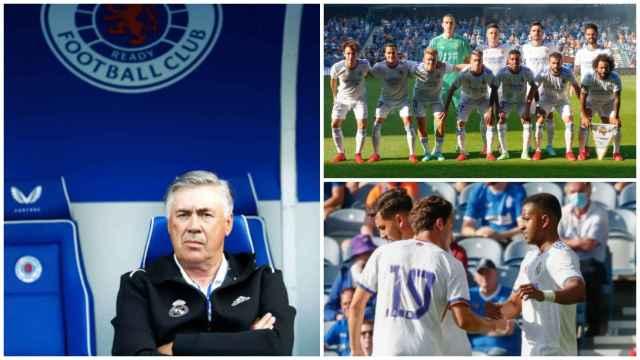 Las mejores imágenes del Rangers - Real Madrid: del 'redebut' de Ancelotti al gol de Rodrygo