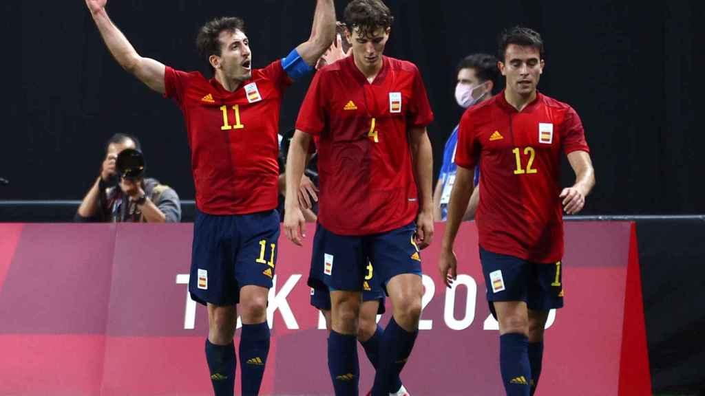 Mikel Oyarzabal celebra el gol frente a Australia en los Juegos Olímpicos