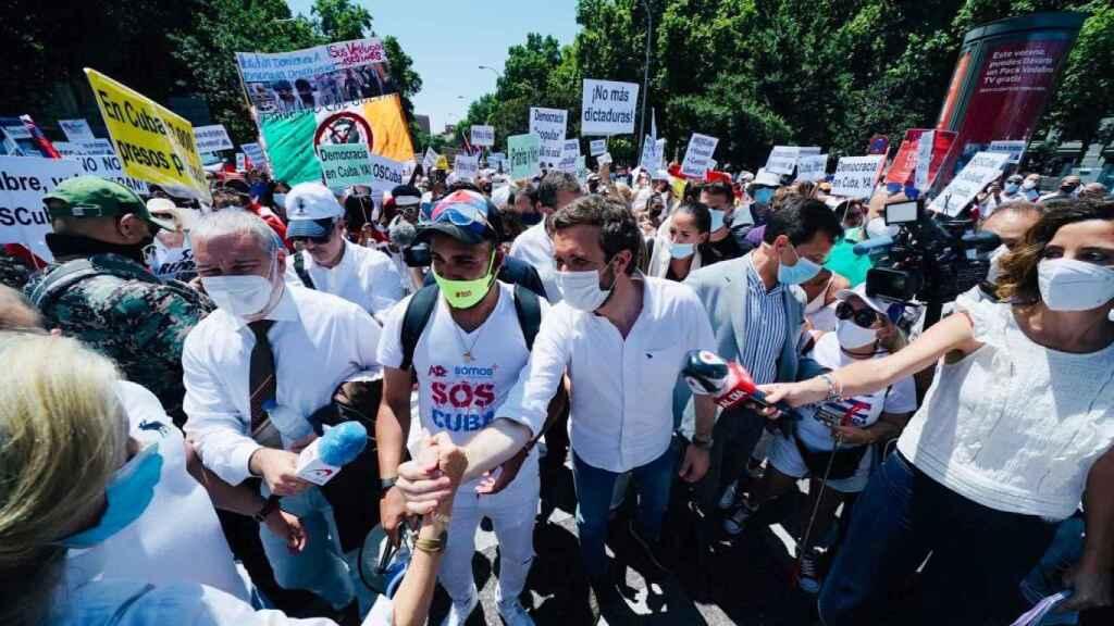 Pablo Casado, en la marcha en Madrid por la libertad y la democracia en Cuba.