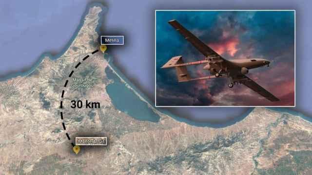 Mapa con la ubicación de Monte Arruit y Melilla y un dron modelo Bayraktar TB2.