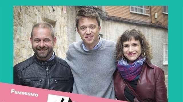 De izquierda a derecha: Fran Muñoz, Íñigo Errejón y Eva Martínez, en un cartel electoral de Más Madrid.