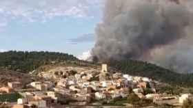 Incendio en Villora muy próximo a la localidad conquense