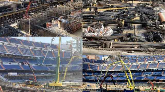 Obras Santiago Bernabéu: el impresionante look 'de hierro' que luce el terreno de juego