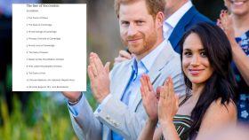 Harry y Meghan en montaje de JALEOS junto a la lista de sucesión al trono.