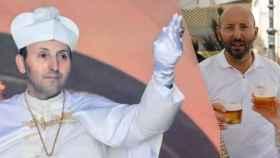 Ginés, a la izquierda, en su época de Papa. A la derecha, tras abdicar por amor.