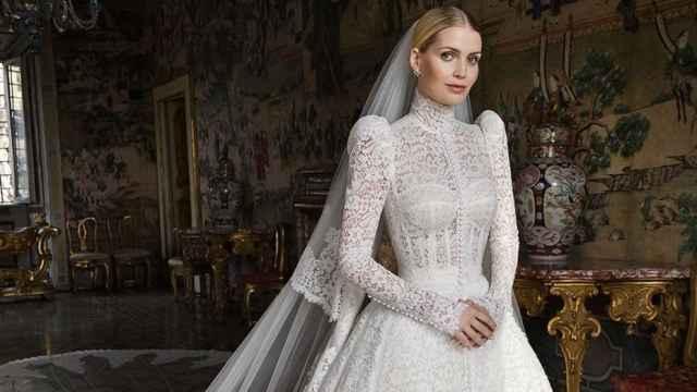 Lady Kitty Spencer vestida de novia, por Dolce&Gabbana.