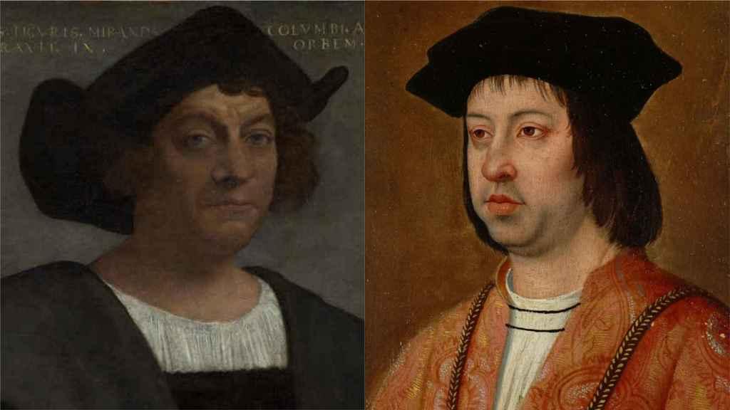 Retratos de Cristóbal Colón y Fernando el Católico.