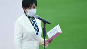Yuriko Koike, en la ceremonia inaugural de Tokio 2020