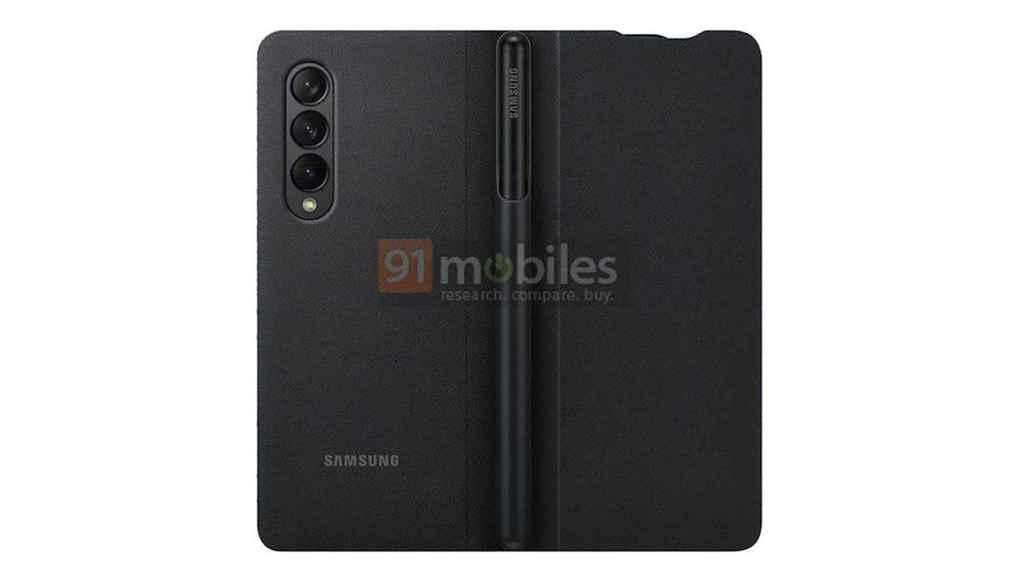 Samsung Galaxy Z Fold 3 con una carcasa para albergar el S Pen