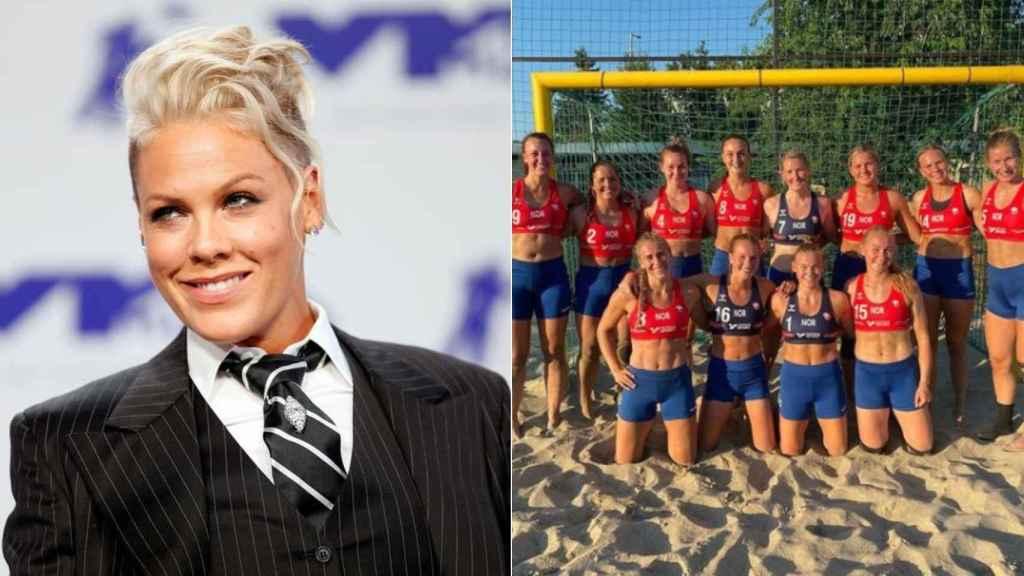 La cantante Pink y la selección noruega de balonmano playa.