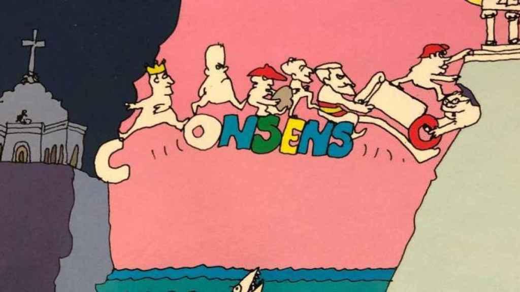 Ilustración de la portada del libro de Prego, por Peridis.