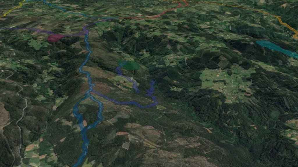 Parte de los caminos y los elementos históricos identificados por los arqueólogos.
