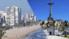 La playa de San Juan de Alicante y le Valle de los Caídos, en Madrid.