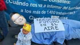 Una de las protestas de los trabajadores ante la Conselleria.