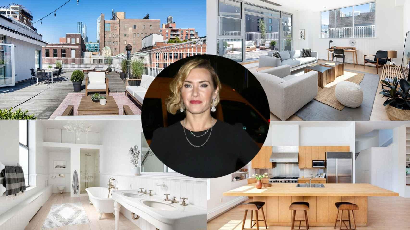 Algunas imágenes de la propiedad y otra de Kate Winslet, en un montaje de JALEOS.