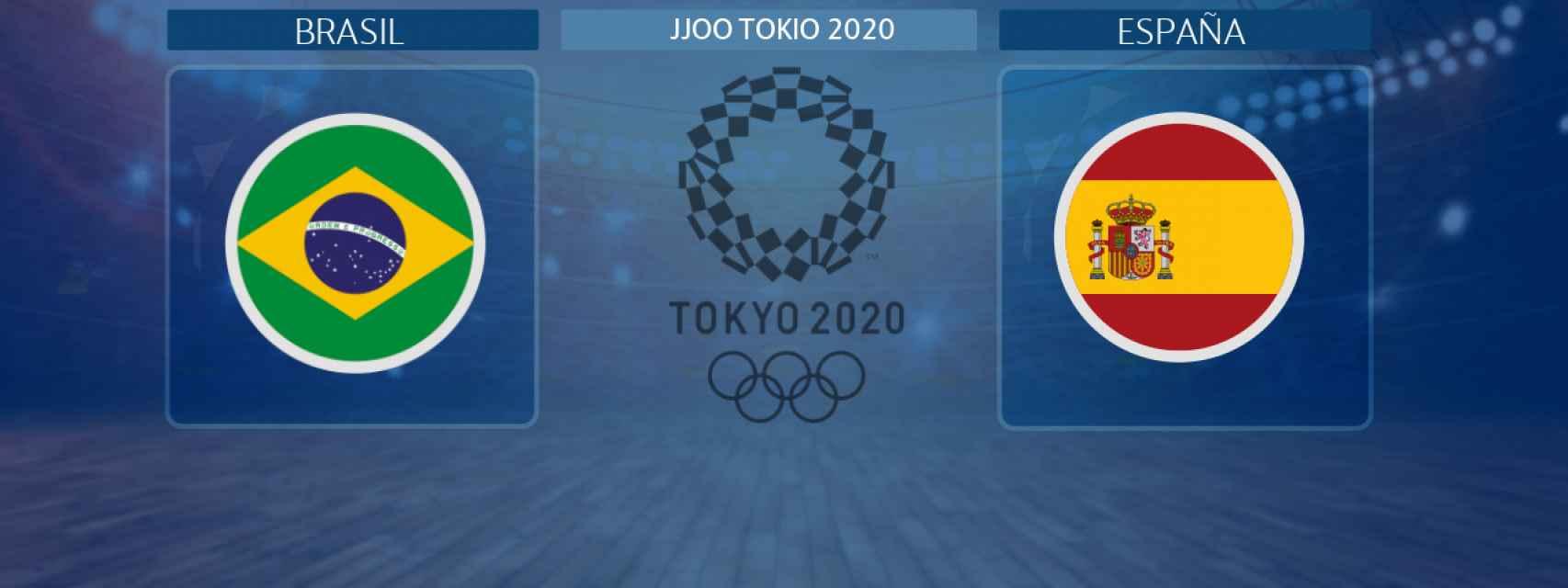 Brasil - España,  partido de balonmano masculino de los JJOO Tokio 2020