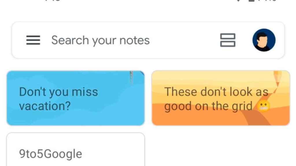 Listado de notas en Google Keep