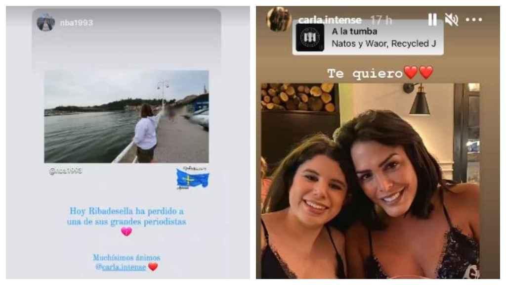 A la izquierda, uno de los mensajes de apoyo recibidos, a la derecha, un instante del encuentro entre Carla Vigo y Amor Romeira.