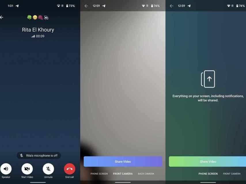 Telegram share video calls on screen