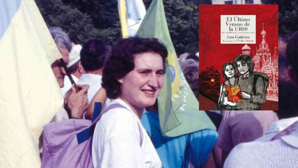 Sara en una manifestación independentista en Kiev (1991), y la portada de su libro: 'El último verano de la URSS'.