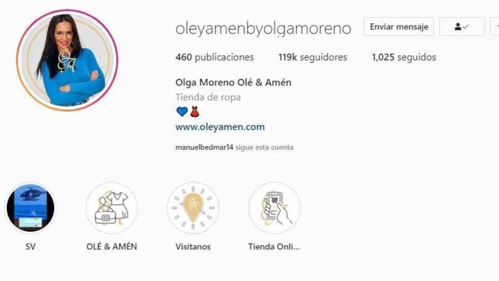 Imagen de la cuenta de Instagram de Olga Moreno, en la que se puede apreciar su número de seguidores.
