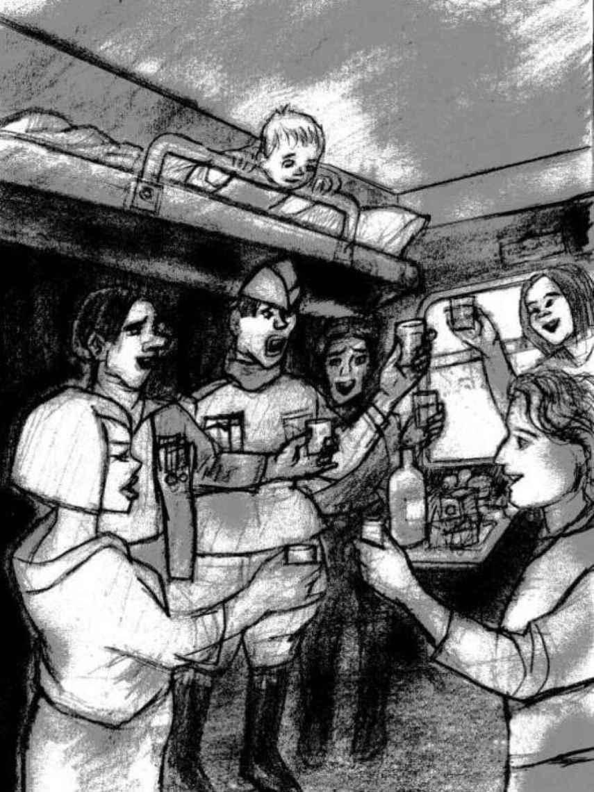 Sara y Yulduz brindando con otros pasajeros en el tren durante el viaje de Kiev a Odesa.
