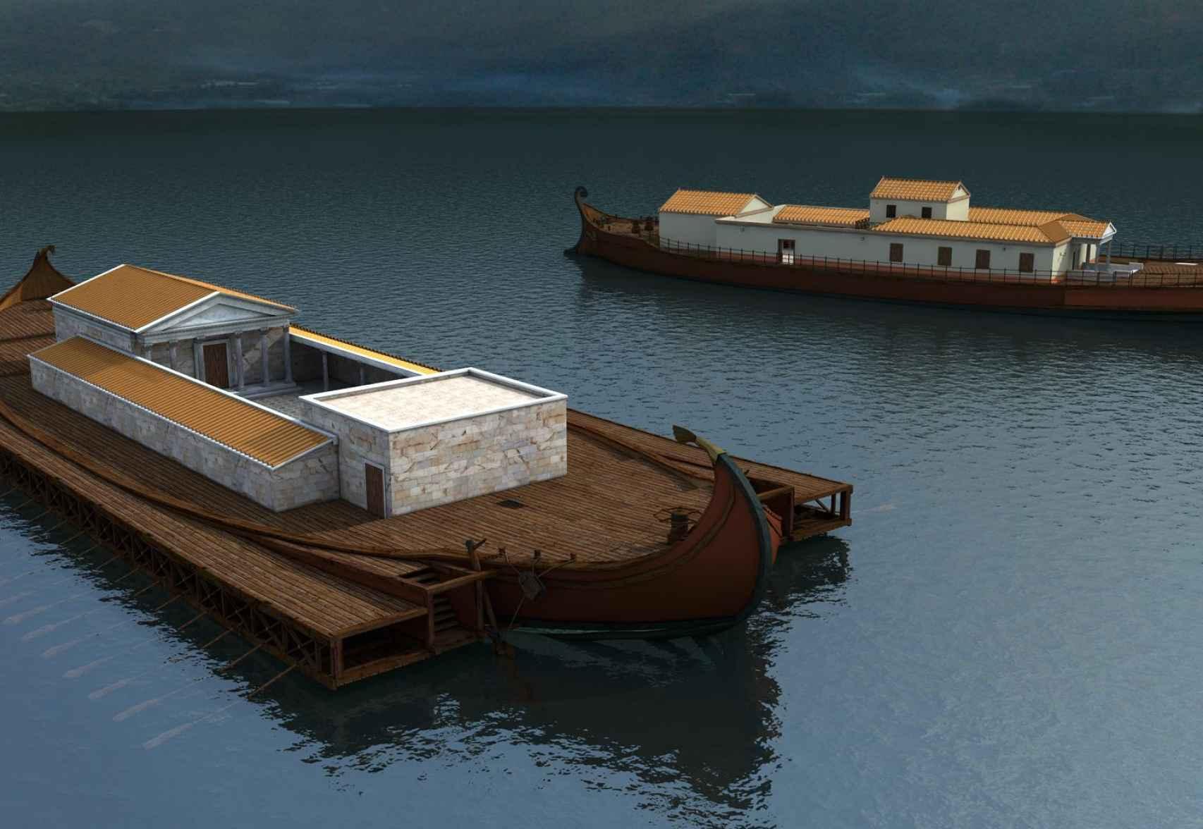 Reconstrucción de los palacios flotantes de Calígula.