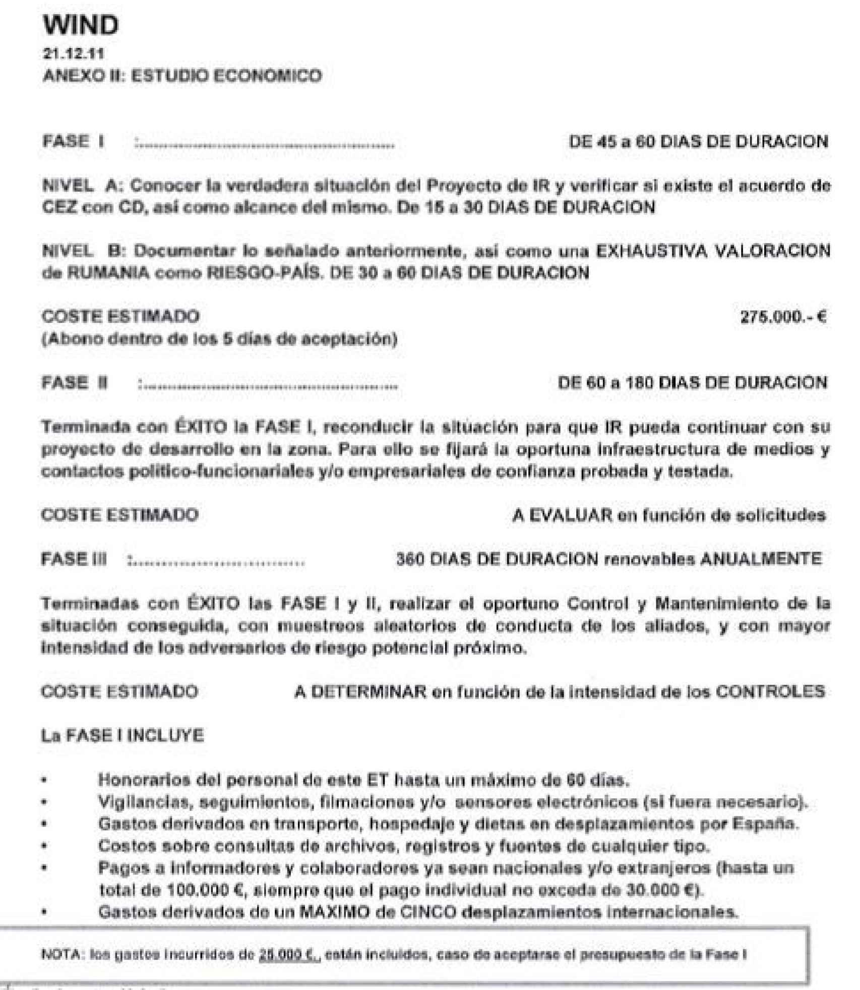Documento de Villarejo sobre el proyecto Wind./