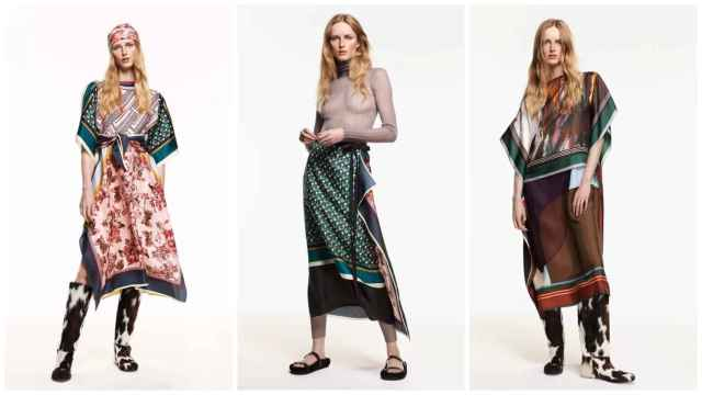 Tres de los 'looks' con los que se presenta la colección Scarf de Zara Studio.