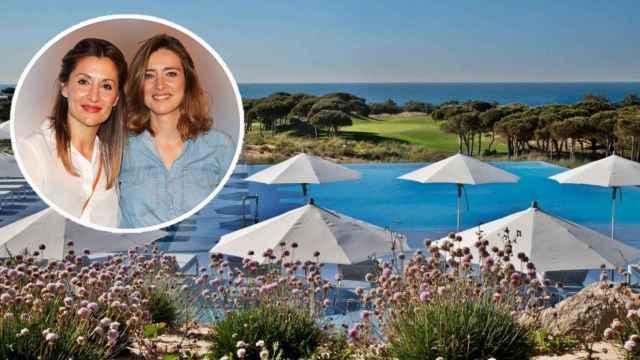 Sandra Barneda y Nagore Robles junto al hotel de Portugal en el que se alojan, en un montaje de JALEOS.