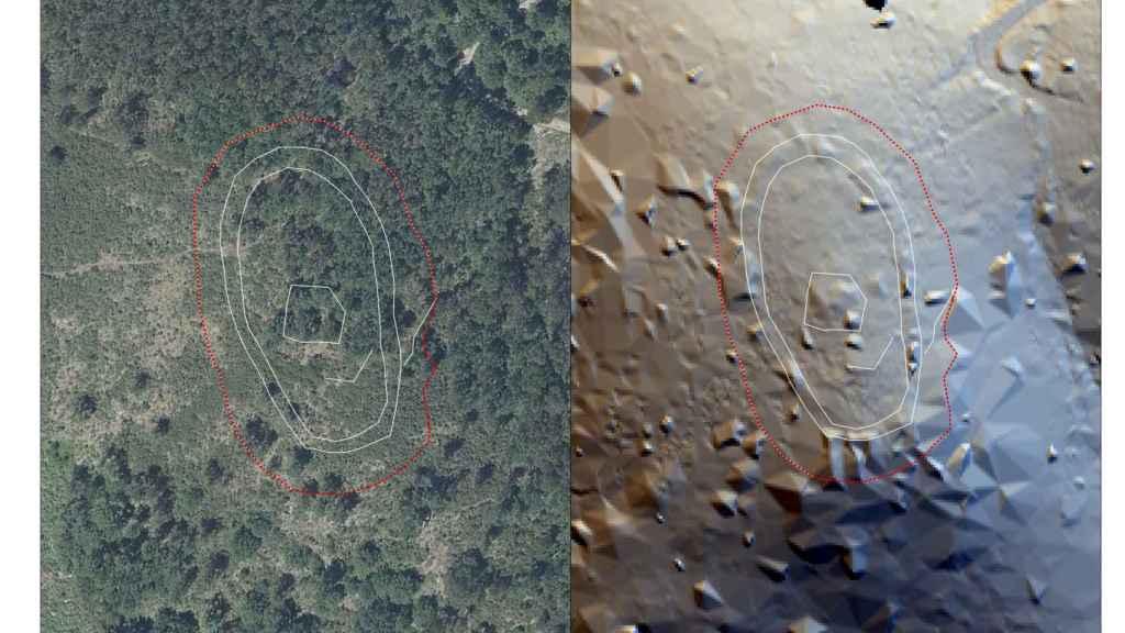 Situación actual del castillo de Teodomiro, oculto bajo la vegetación y restos detectados con análisis RVT.