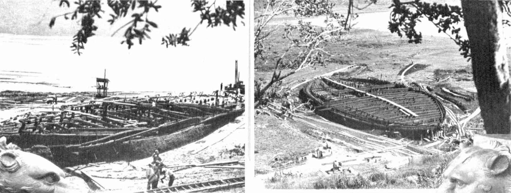 Imagen de los barcos de Calígula durante su excavación. Recorte de prensa de un periódico de 1932.